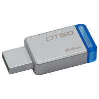DataTraveler 50, Kingston flash disk drive 64GB, boja sivo-plava, 64GB
